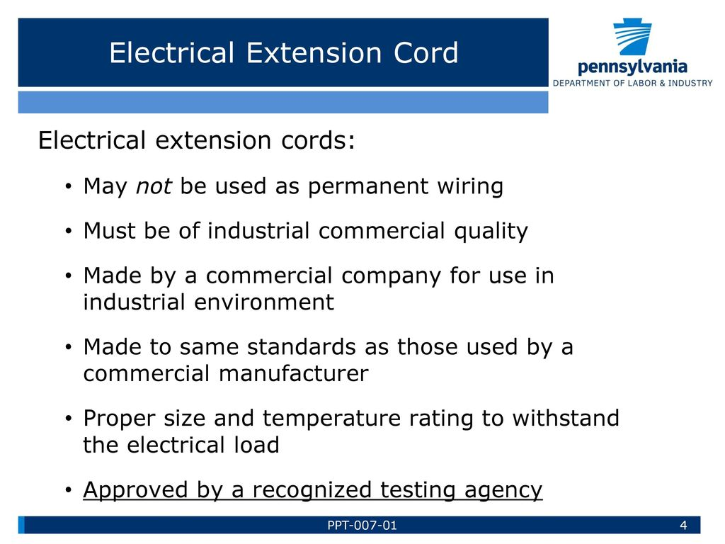 Pa Training For Health Safety Ppt Download Wiring Extension Cord Electrical