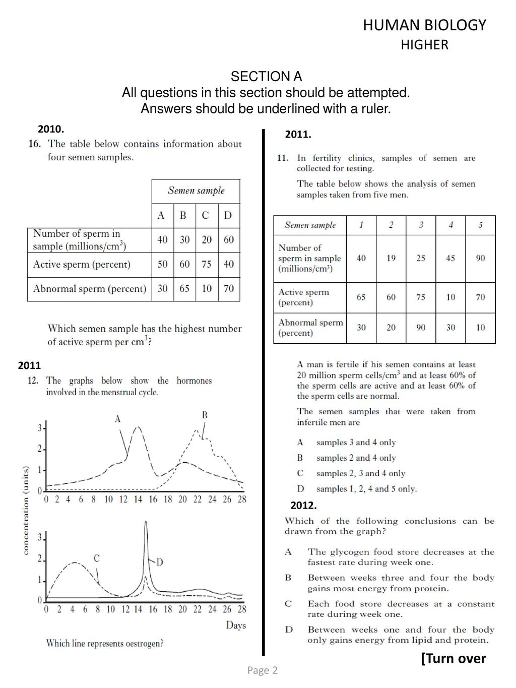 human biology questions and answers