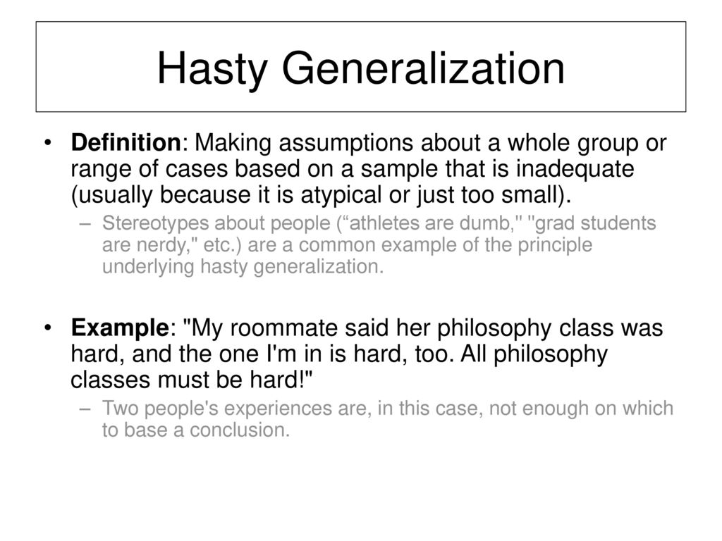 Examples Of Hasty Generalization Images Example Cover Letter For