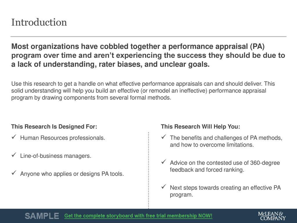 performance appraisal program examples