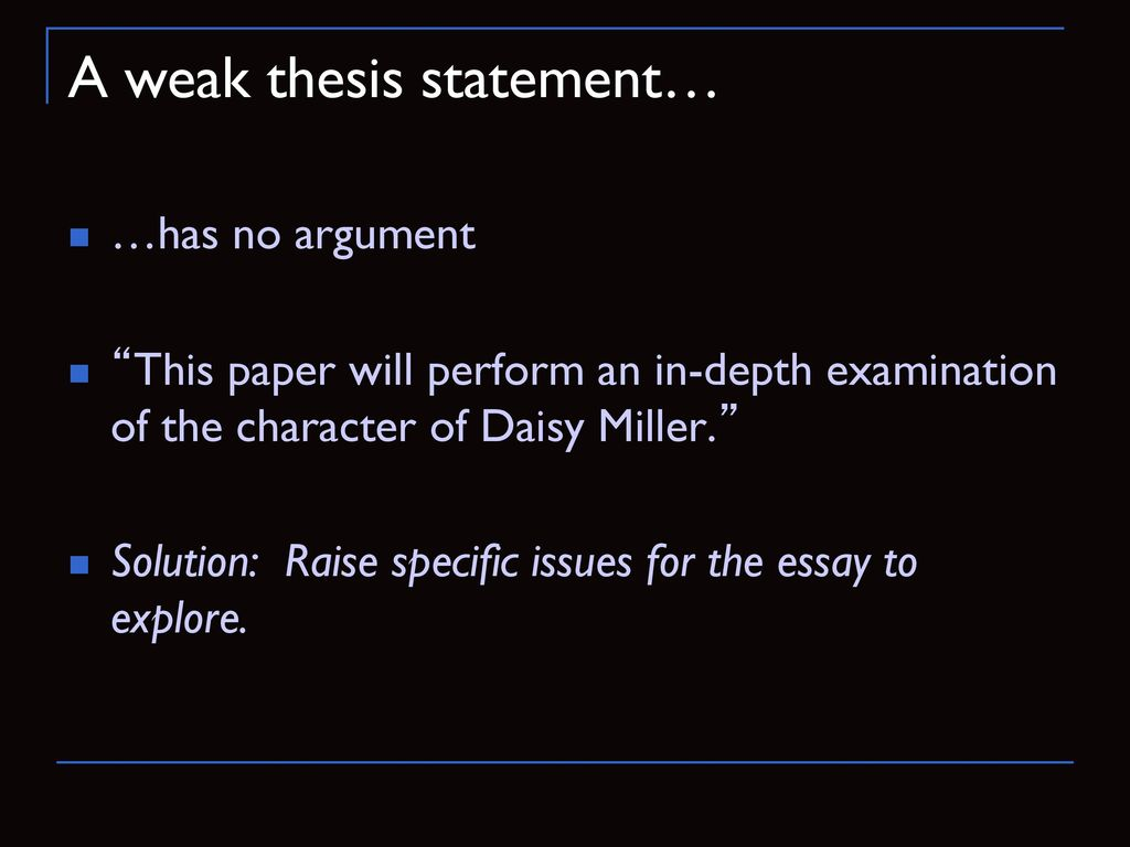 daisy miller thesis statements
