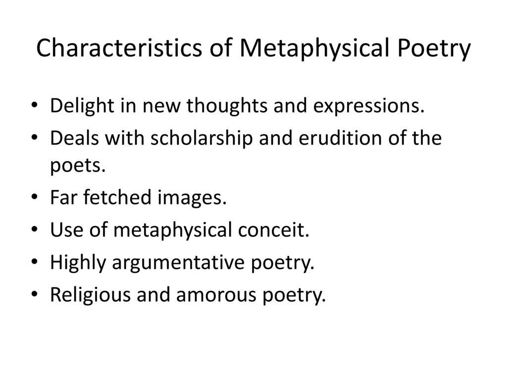 characteristics of a metaphysical poem