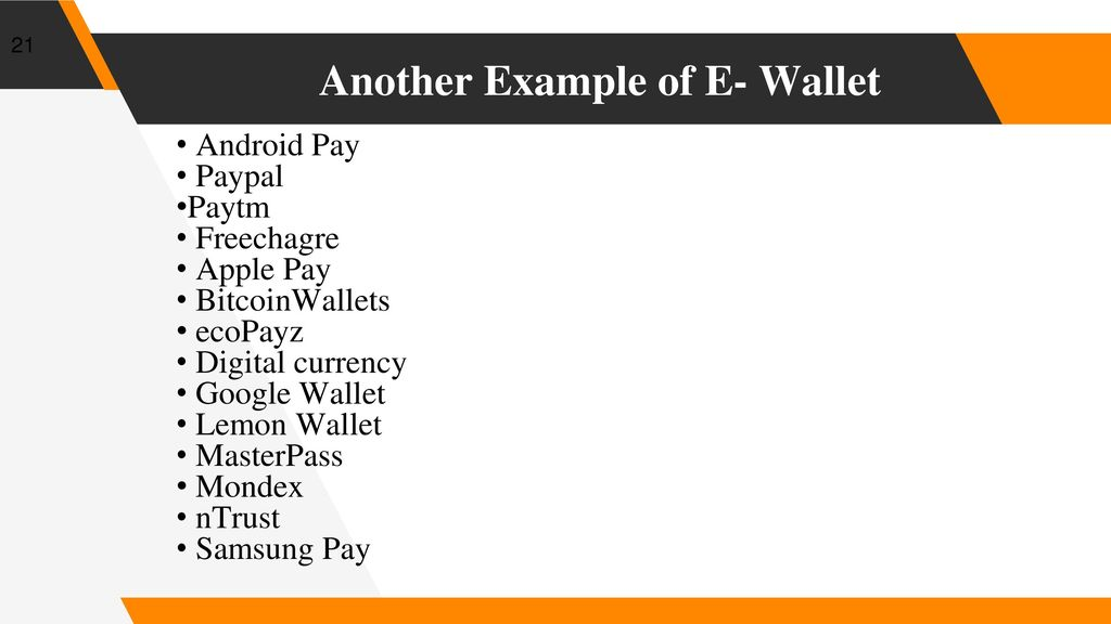 E- Wallet  - ppt download