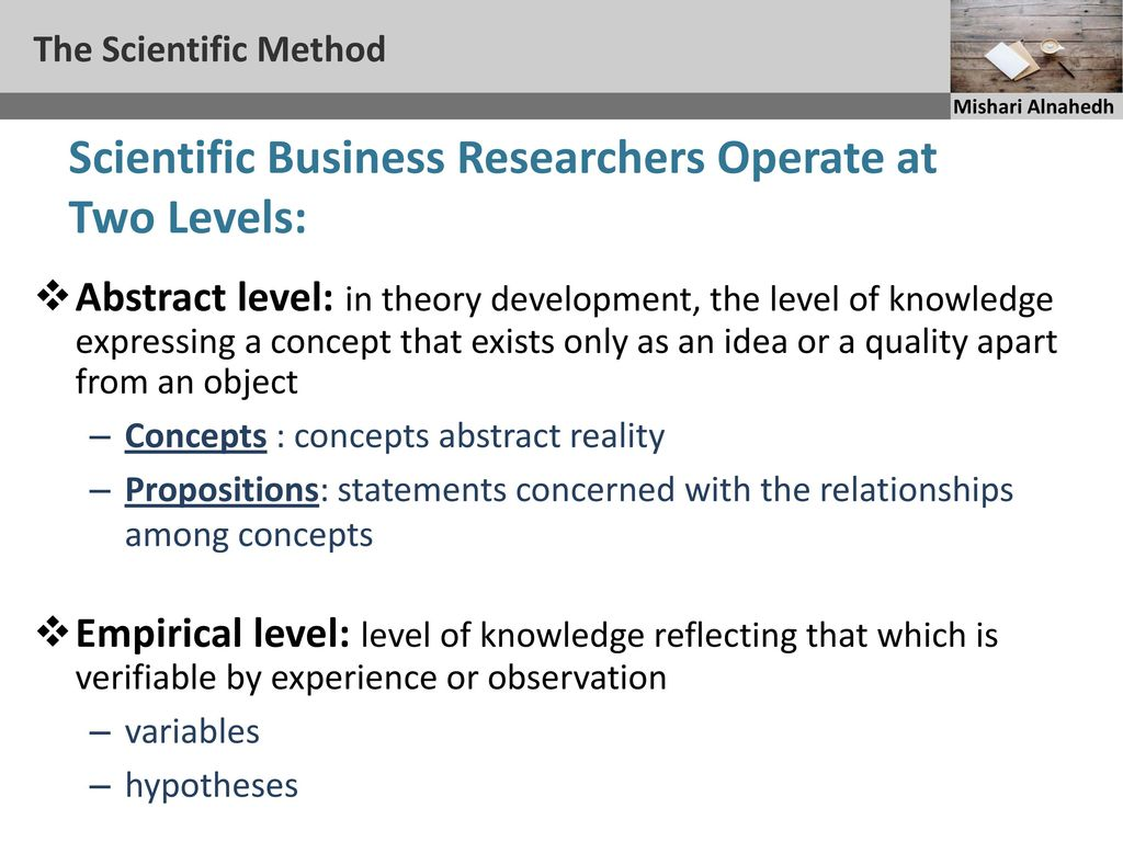 Methods and levels of scientific knowledge 17
