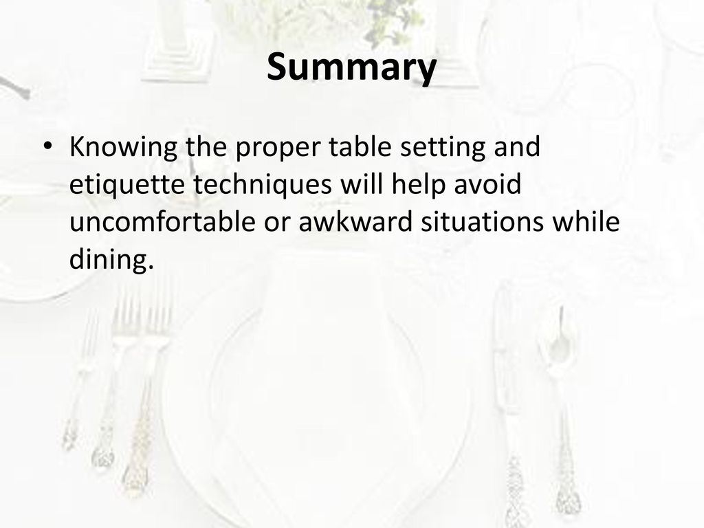 Table Setting and Etiquette - ppt download