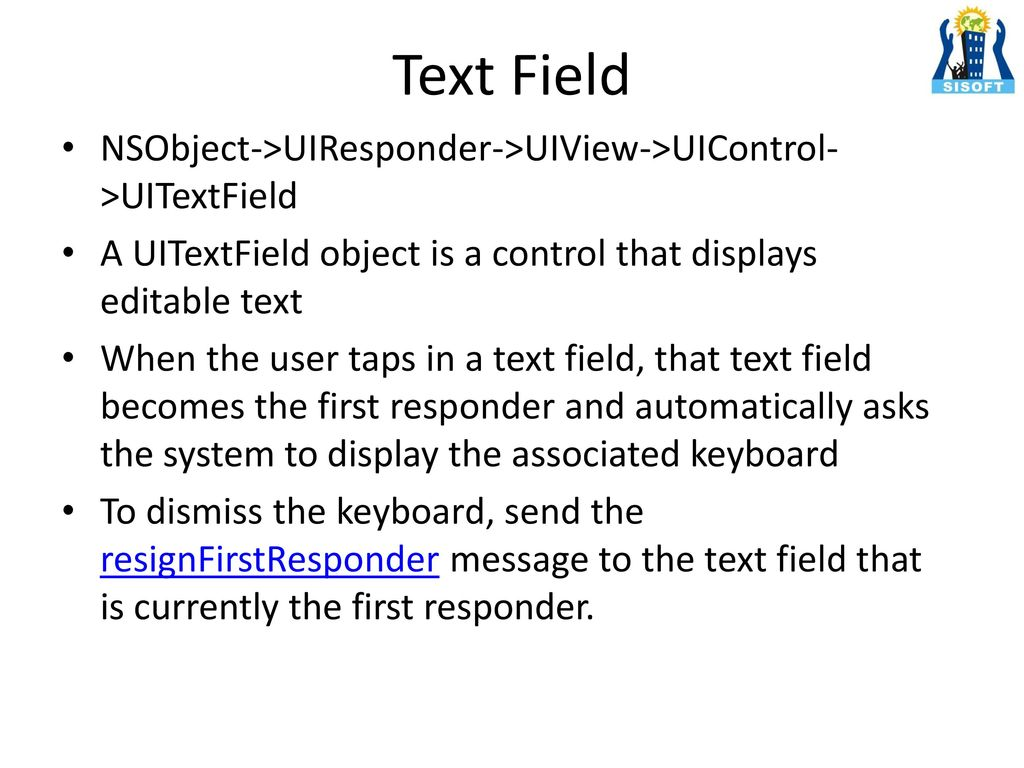 iOS UI Components Sisoft Technologies Pvt Ltd - ppt download