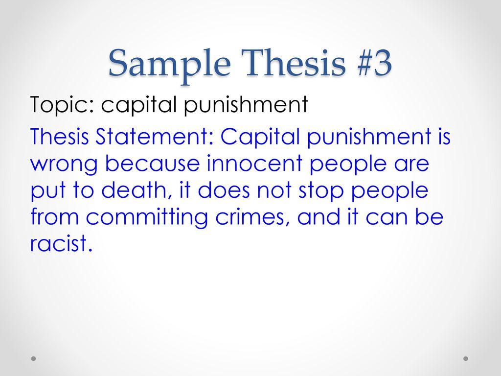 thesis statement regarding capital punishment