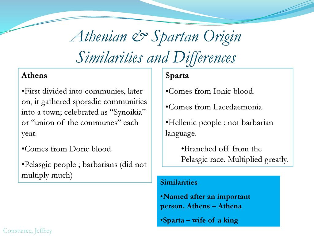 similarities and differences of sparta and athens