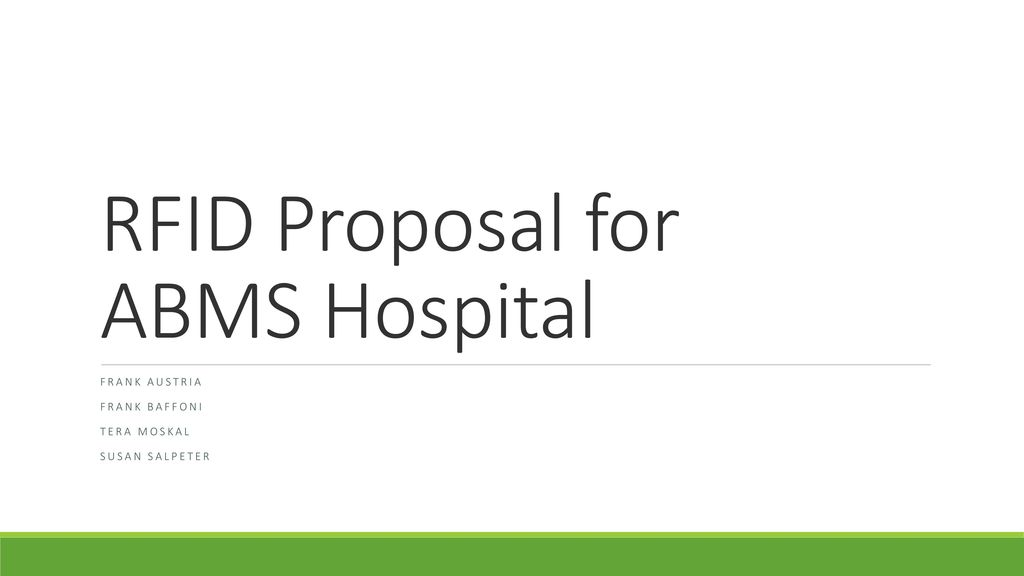 RFID Proposal for ABMS Hospital - ppt download