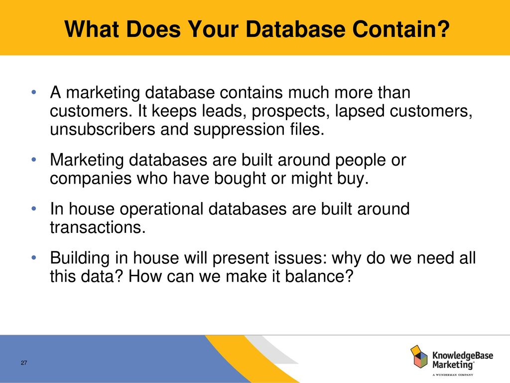 How and why to build a marketing database: In-house or Out
