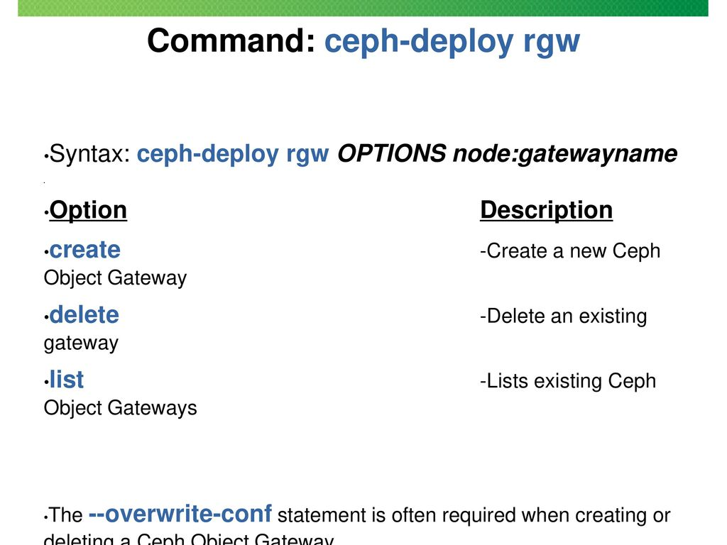 Section 6 Object Storage Gateway (RADOS-GW) - ppt download