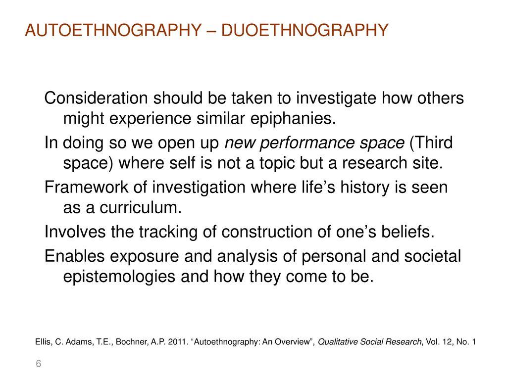 autoethnography topics