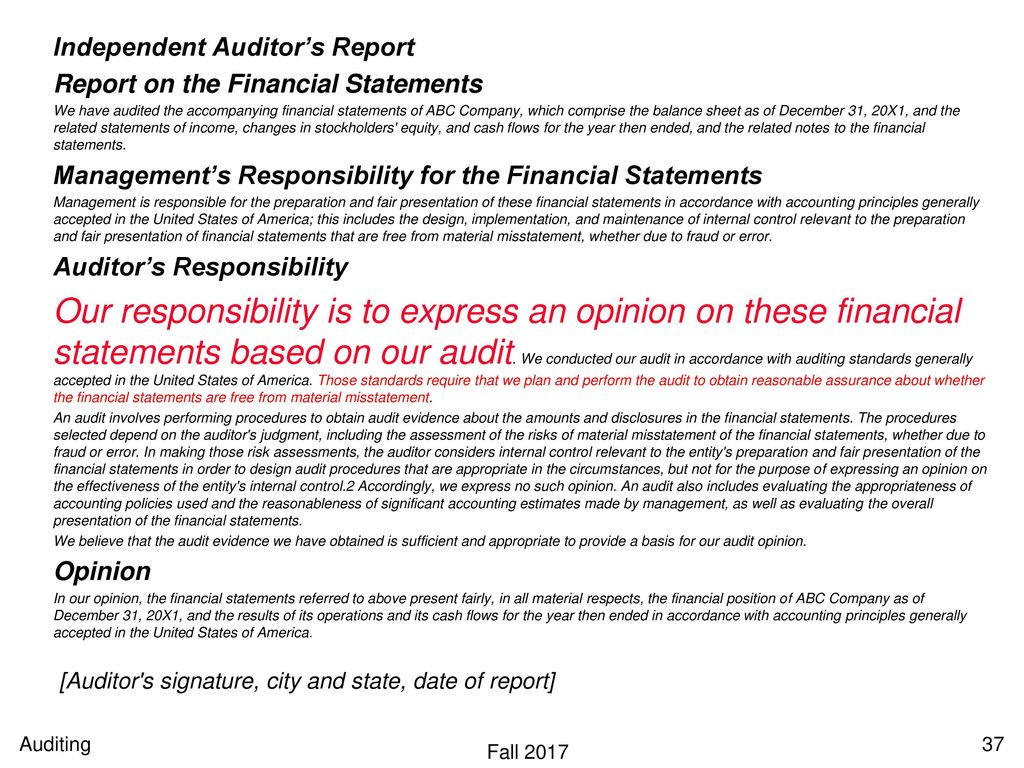 Dating of the independent auditors report