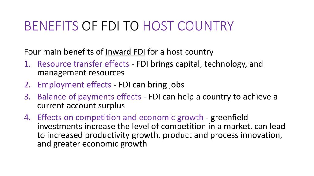 advantages of fdi to host country