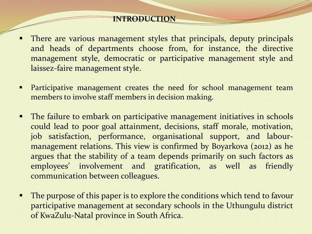in participative management quizlet