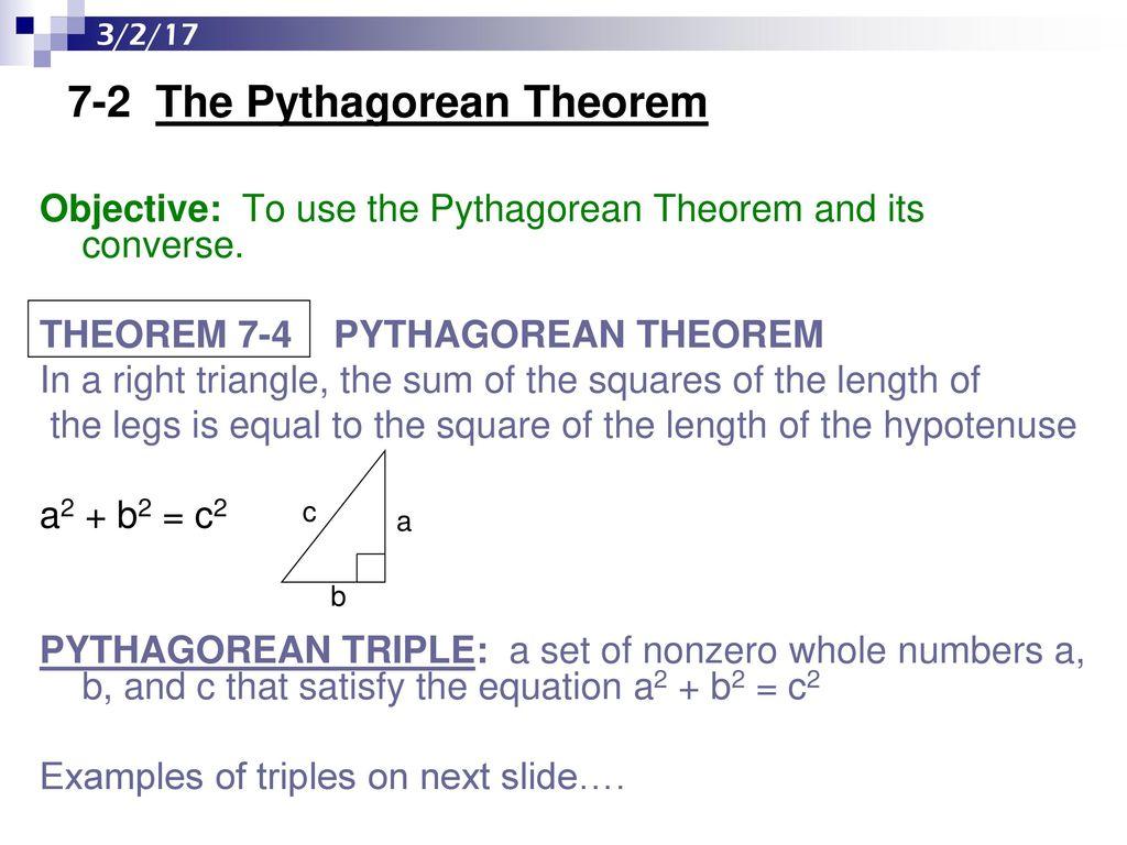 409e2109d356 7-2 The Pythagorean Theorem - ppt download