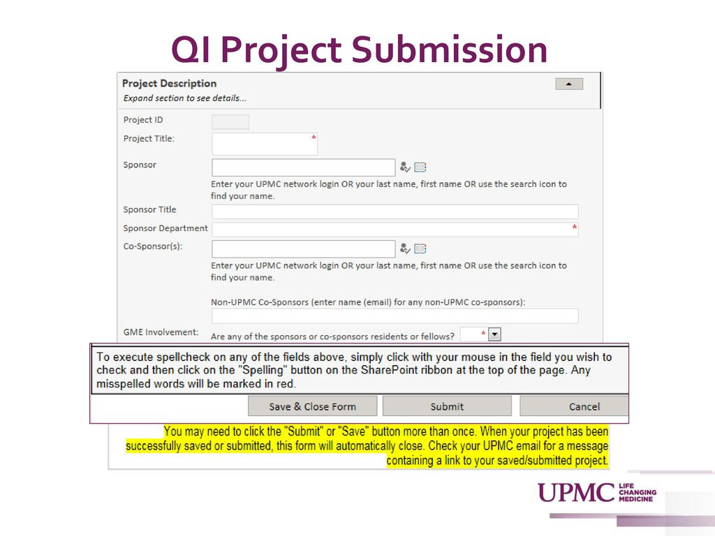 Submission and Review of Quality Improvement Projects - ppt