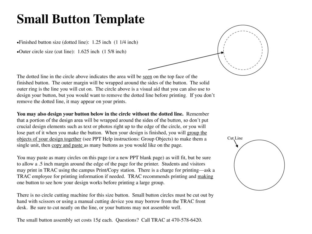 Small Button Template Finished Size Dotted Line 125 Inch 1