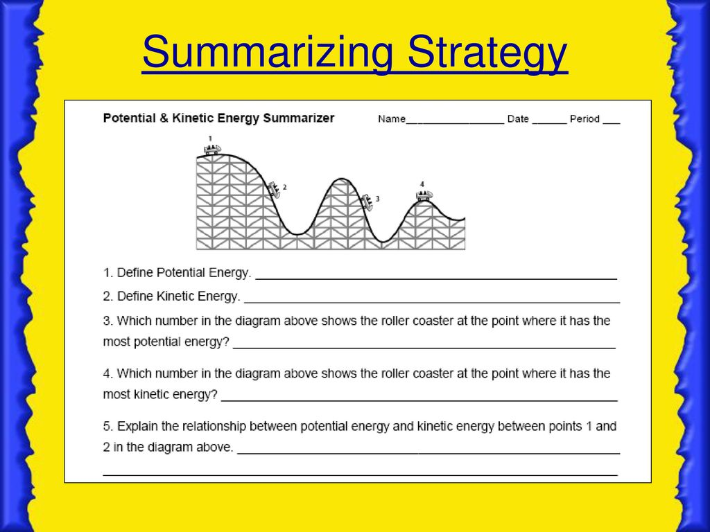 Potential Energy Worksheet Key