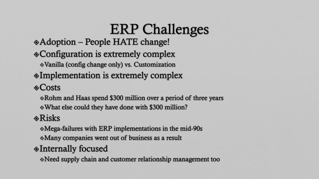 erp risks and challenges