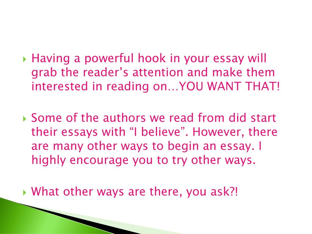 how to make a hook for an essay
