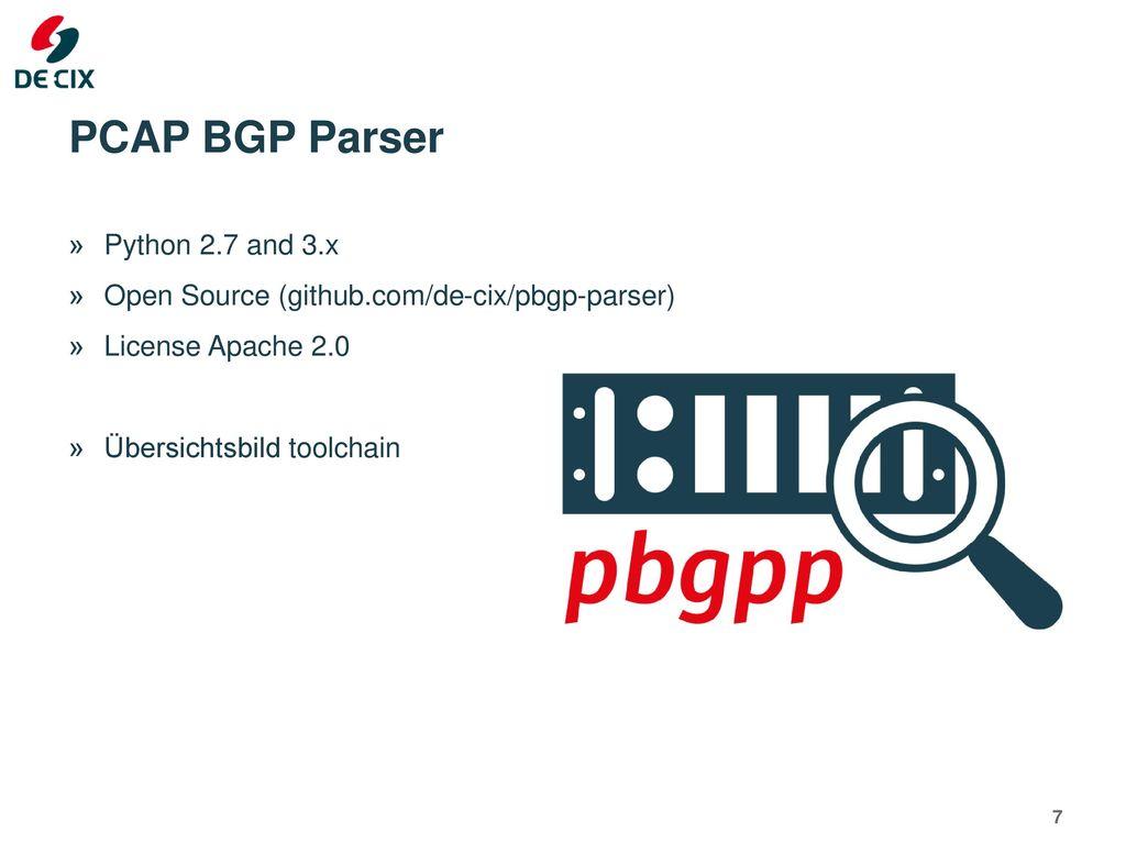 PCAP BGP Parser RIPE 73, Madrid Christoph Dietzel, Tobias