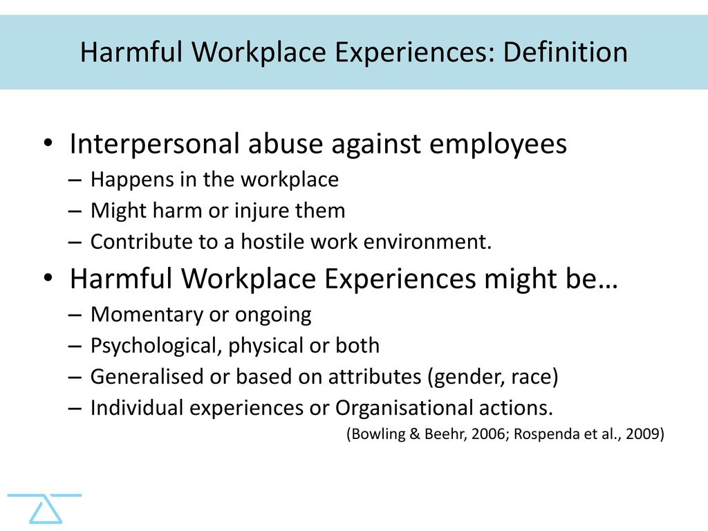 harmful workplace experiences and women's occupational wellbeing
