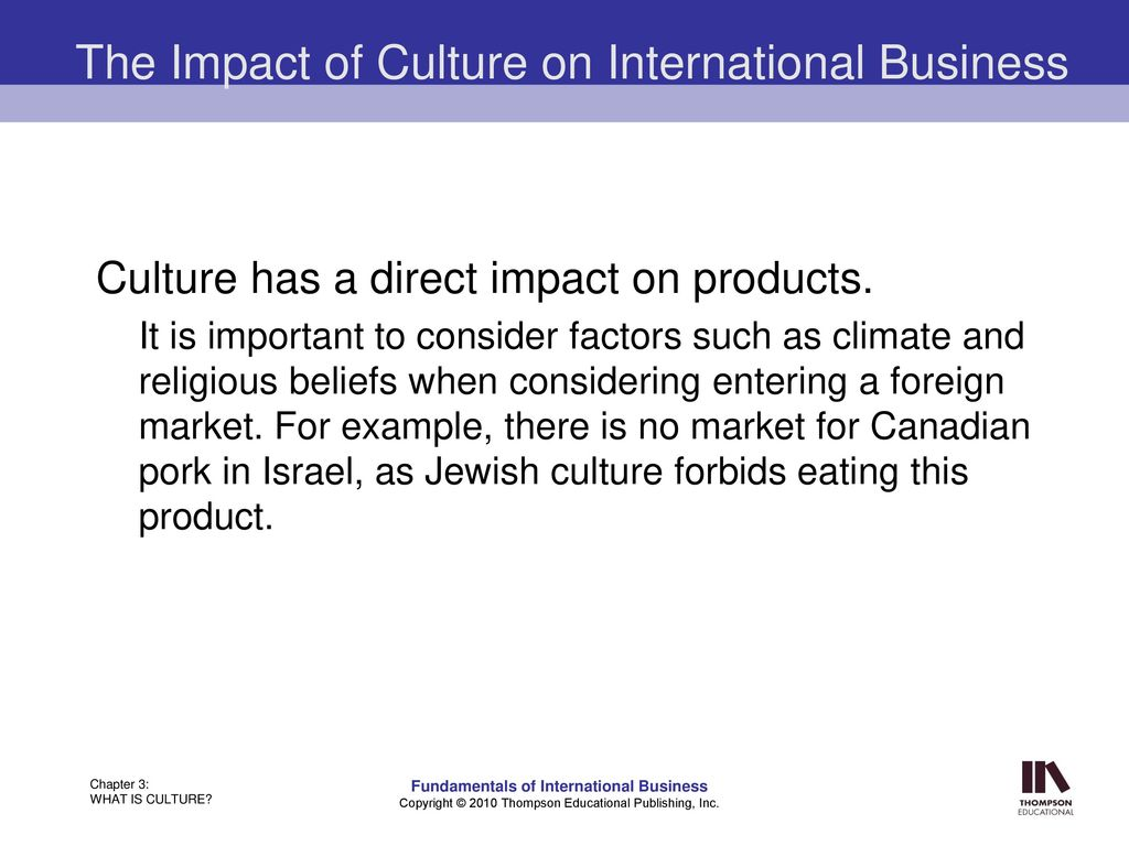 Impact of culture on international business examples.