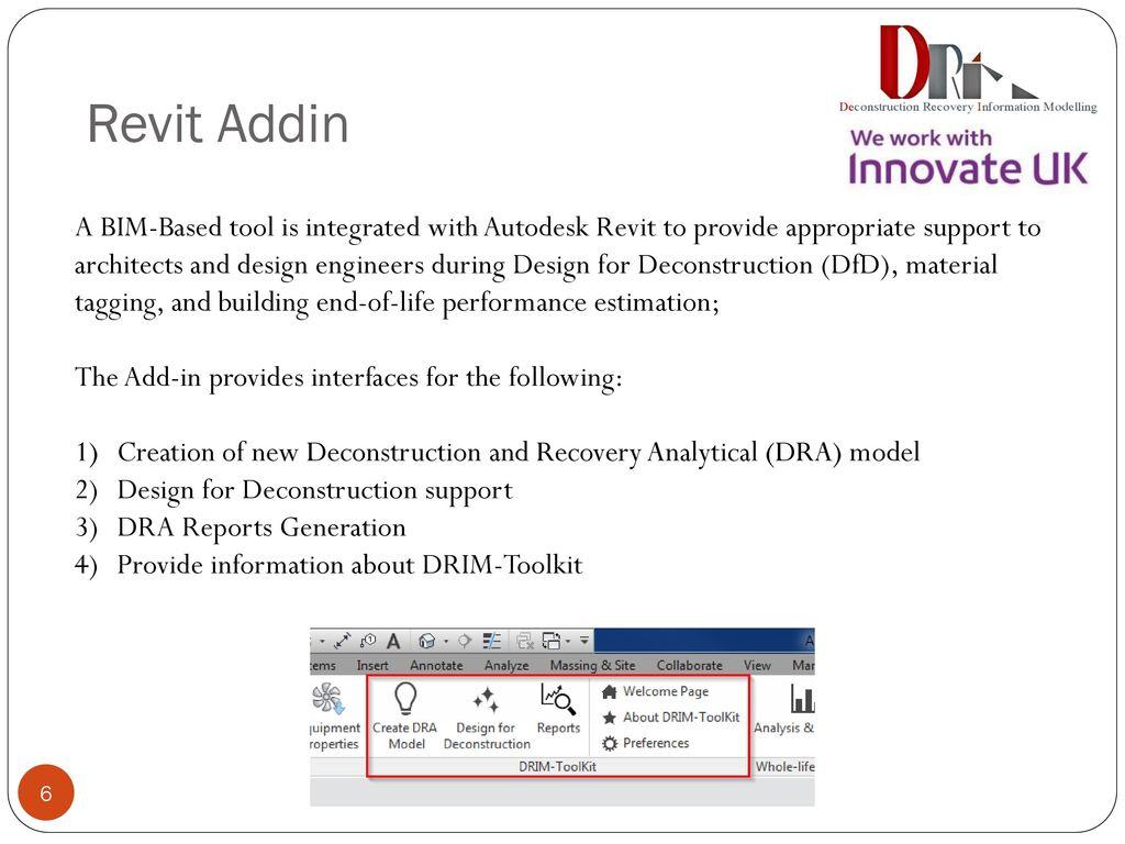 DRIM ToolKit – Revit Addin & Simulation Platform - ppt download