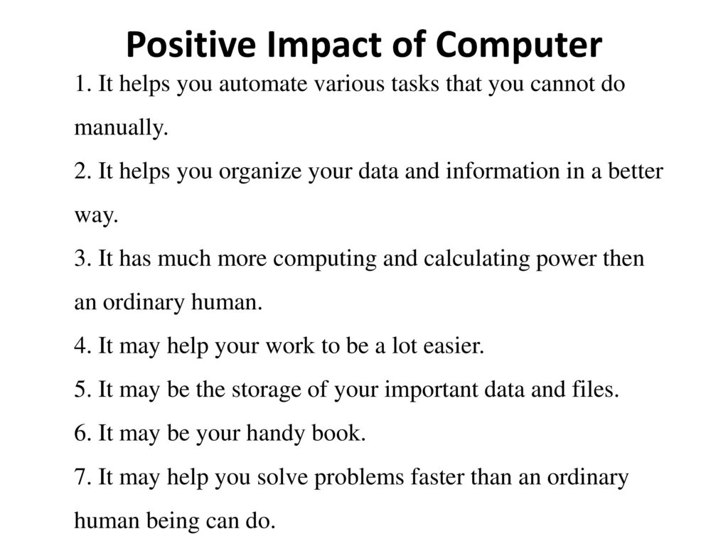 positive impact of computer