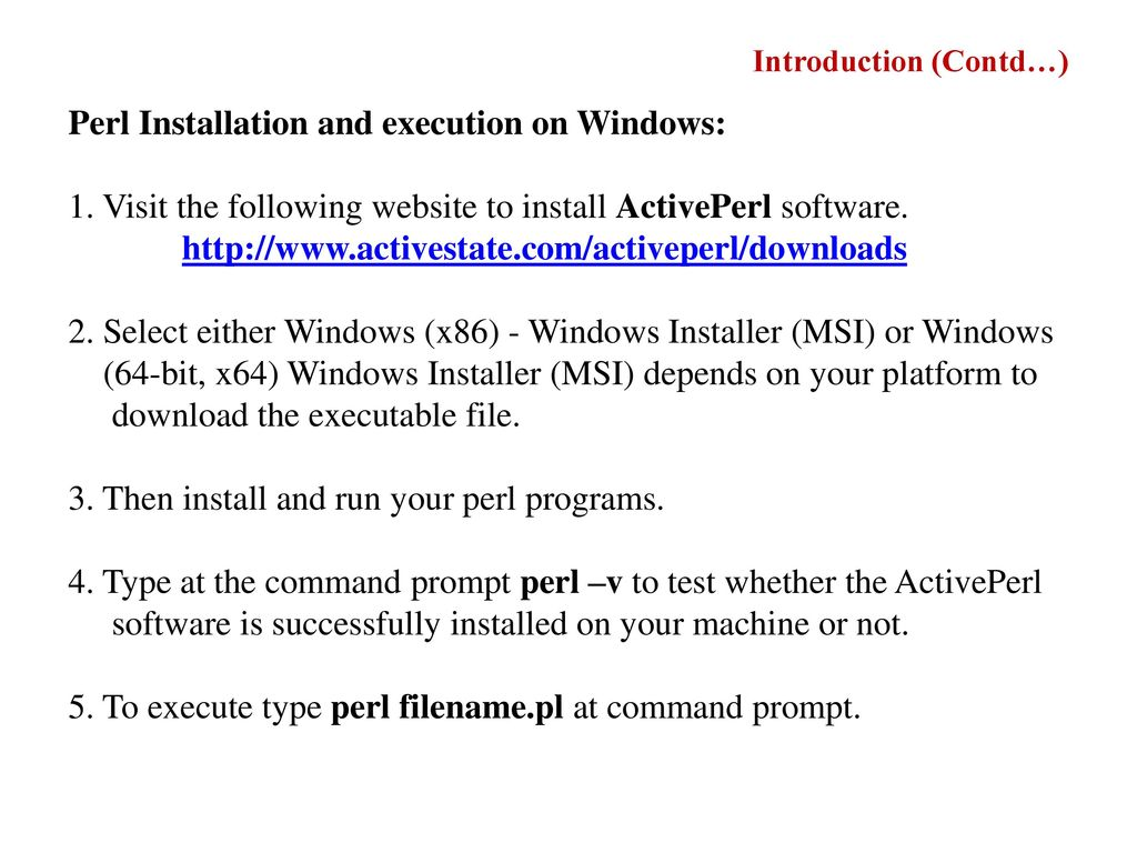 Installing activeperl on microsoft windows.