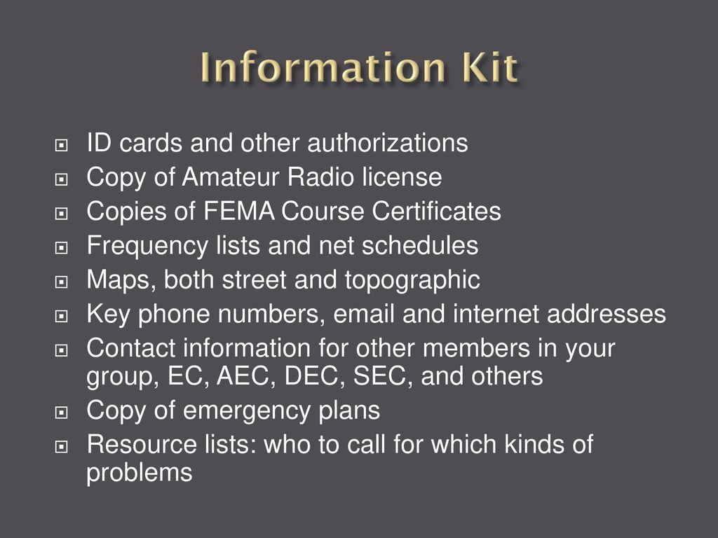 Ares task book emergency preparedness and go kits ppt download 52 information fandeluxe Image collections