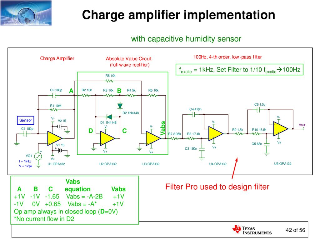 Sensors And The Analog Interface Ppt Download Humidity Sensor Circuit Diagram 42 Charge Amplifier Implementation With Capacitive