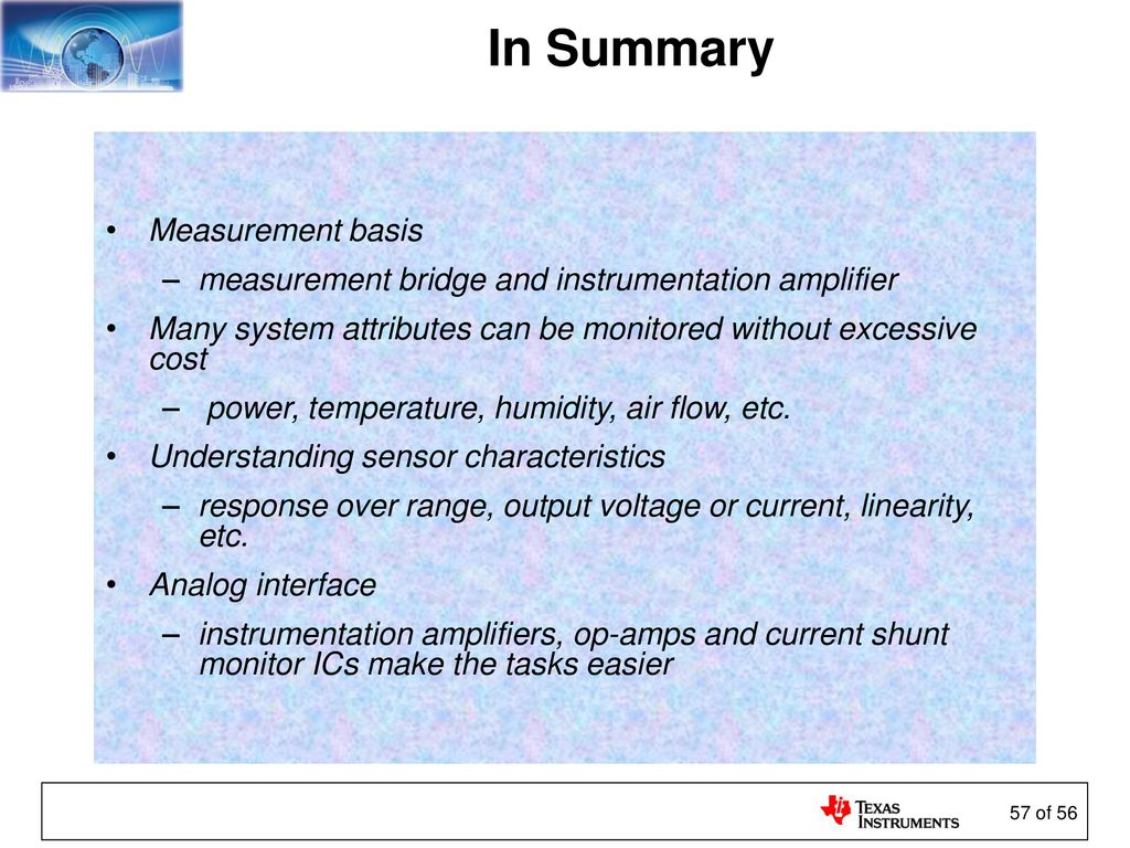 Sensors And The Analog Interface Ppt Download Understanding Load Cell Instrumentation Amplifier Electrical 56 In Summary Measurement Basis Bridge