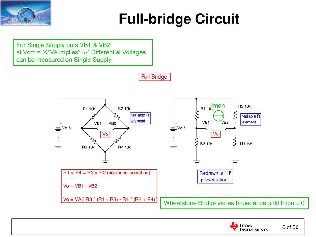 Sensors And The Analog Interface Ppt Download Single Supply Full Bridge Circuit For Puts Vb1 Vb2
