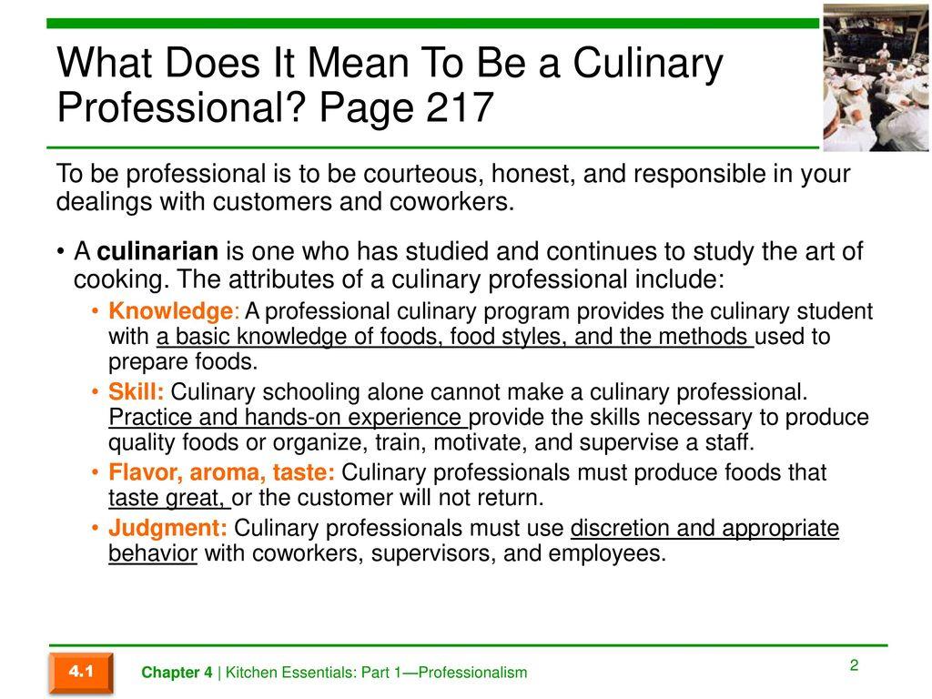 Chapter 4 Kitchen Essentials: Part 1— Professionalism. - ppt download