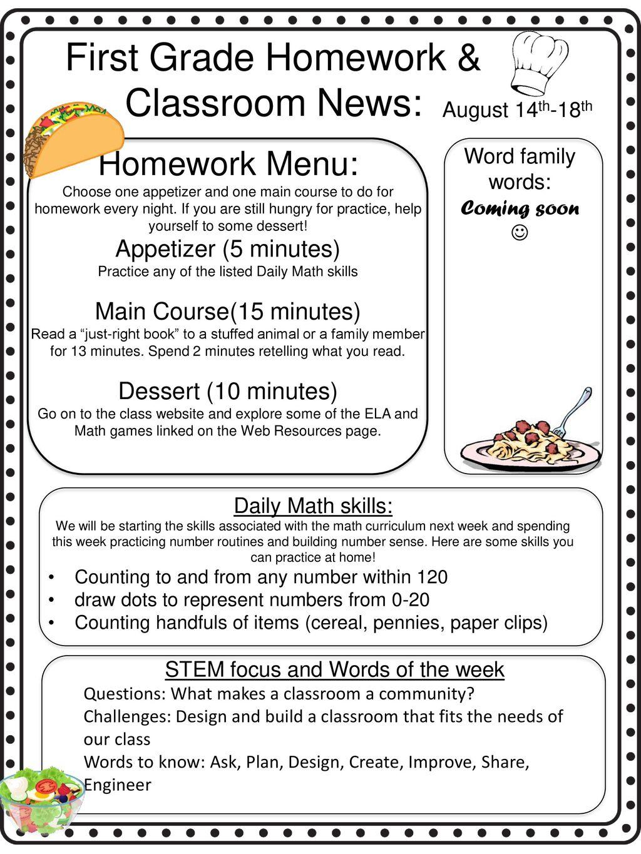First Grade Homework & Classroom News: - ppt download
