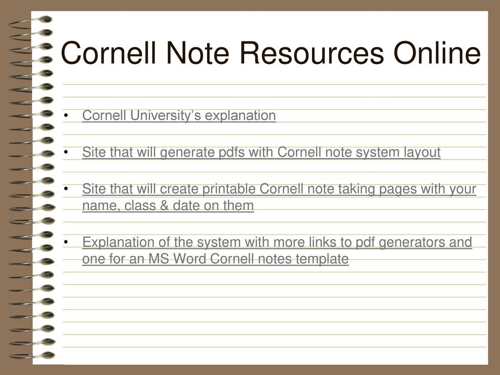 The Modified Cornell Note Taking System Ppt Download