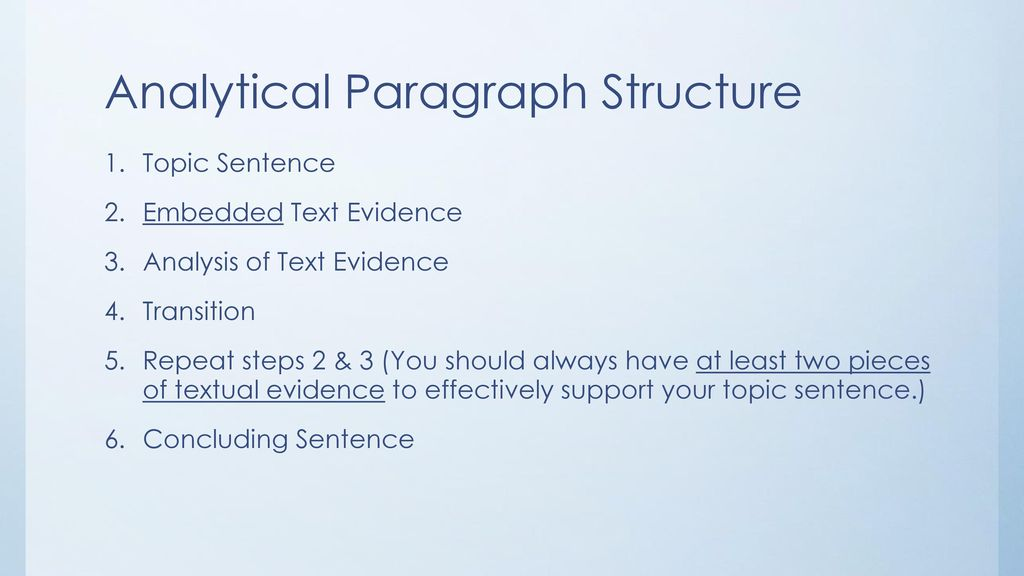 analytical paragraph structure