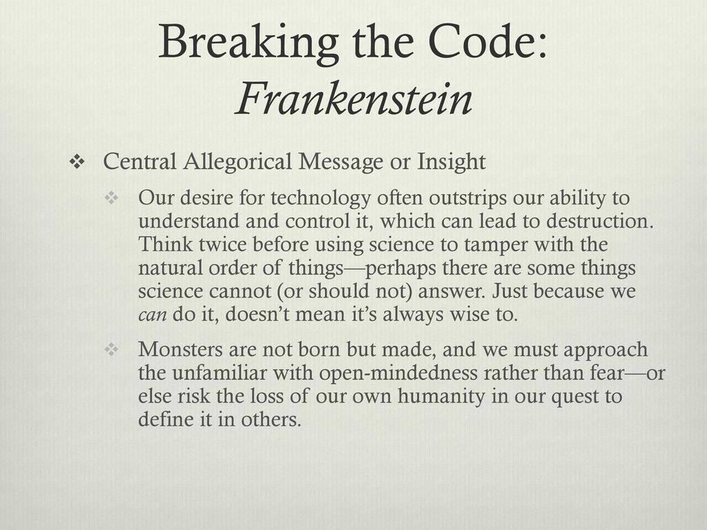 message of frankenstein