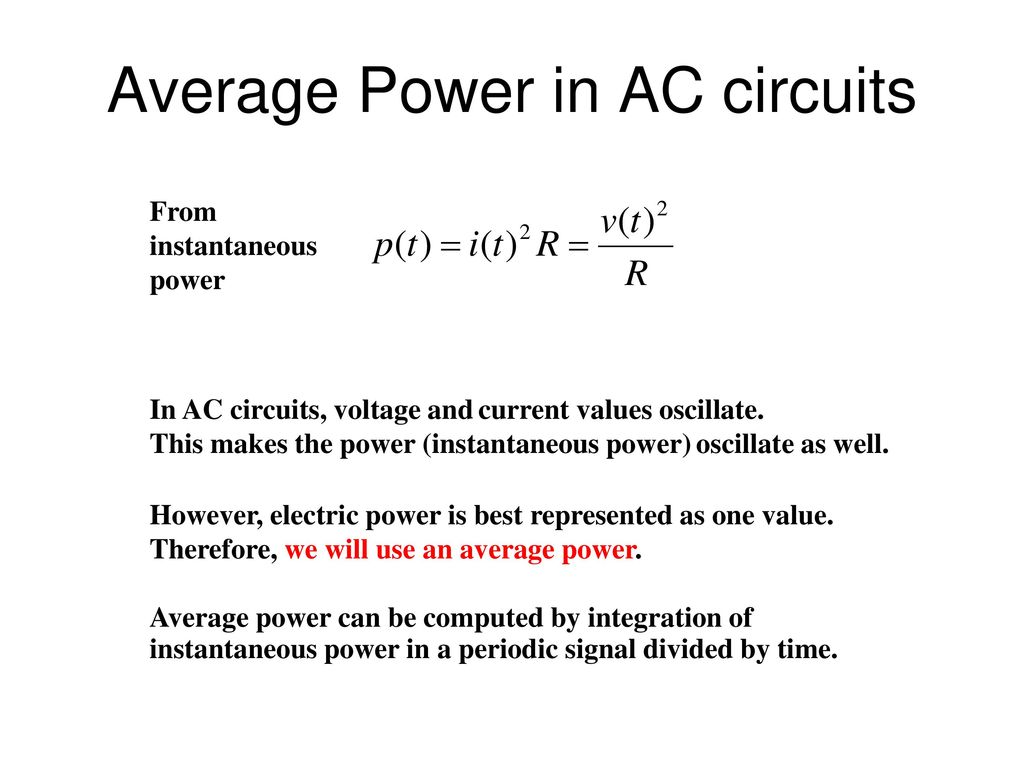 Network Circuit Analysis Ppt Download Power In Ac Circuits Average