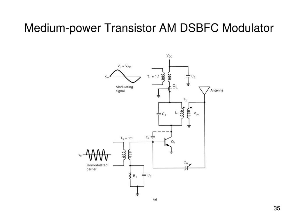 Amplitude Modulation Am Ppt Download Transistors Circuit Components Electrical Medium Power Transistor Dsbfc Modulator