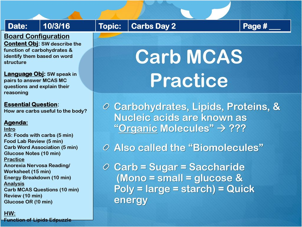 Name 5 Foods That Have Carbohydrates In Them Ppt Download