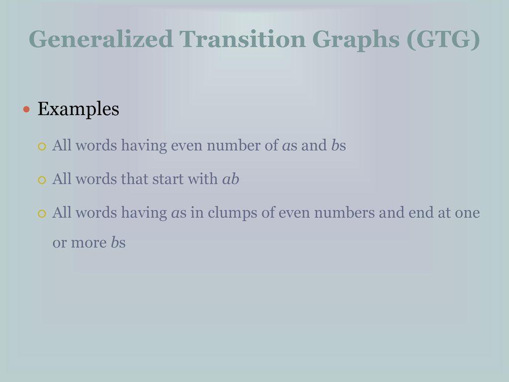 generalized transition graphs ppt download