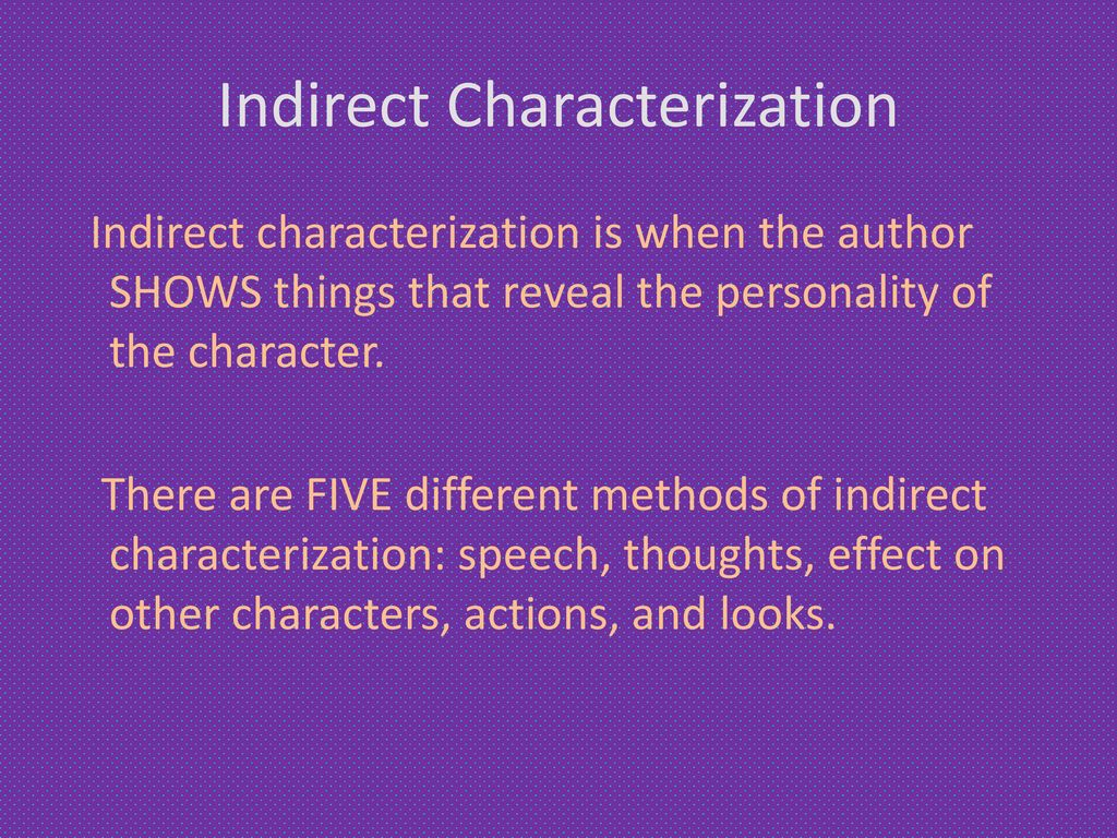 indirect characterization is __________ by the author