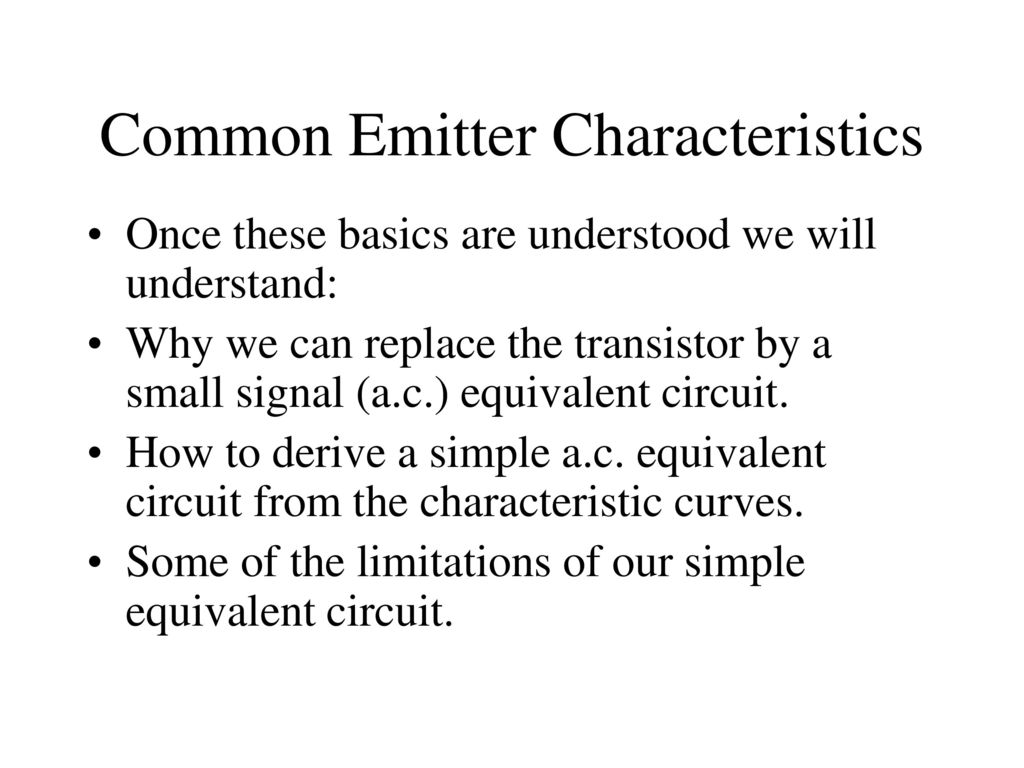 Common Emitter Transistor Circuit Characteristics Ppt Download
