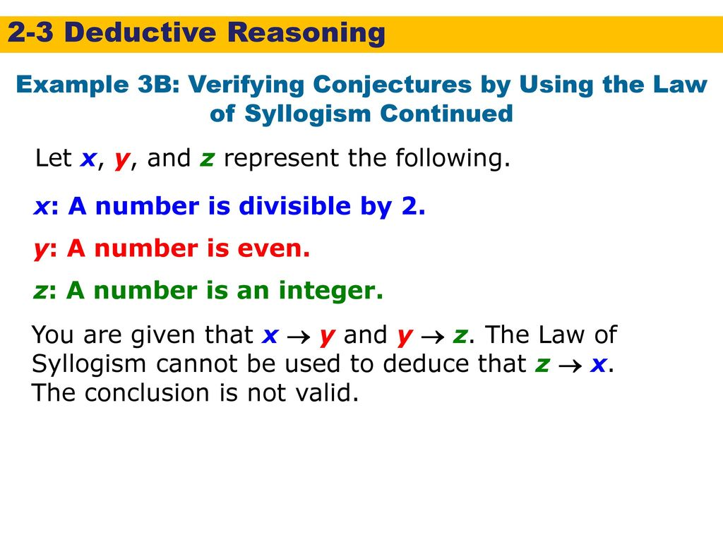 2 3 Deductive Reasoning Warm Up Lesson Presentation Lesson Quiz