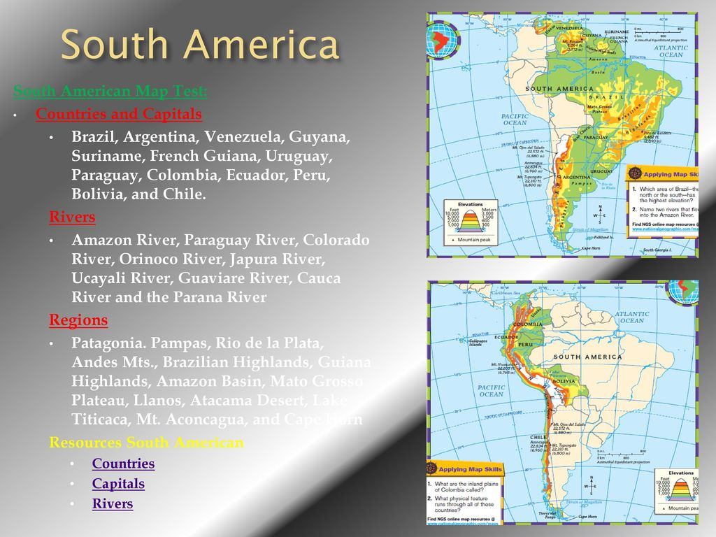 South America South American Map Test Countries And Capitals Ppt