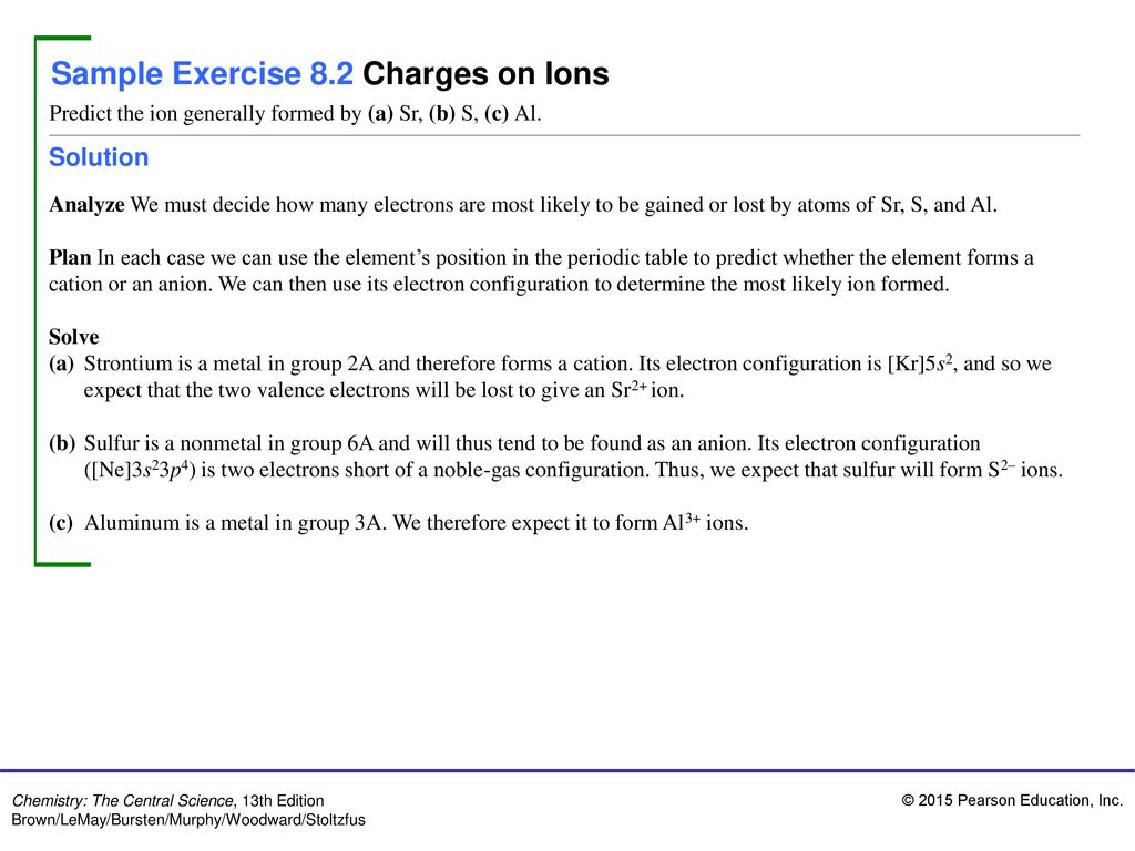 sample exercise 82 charges on ions