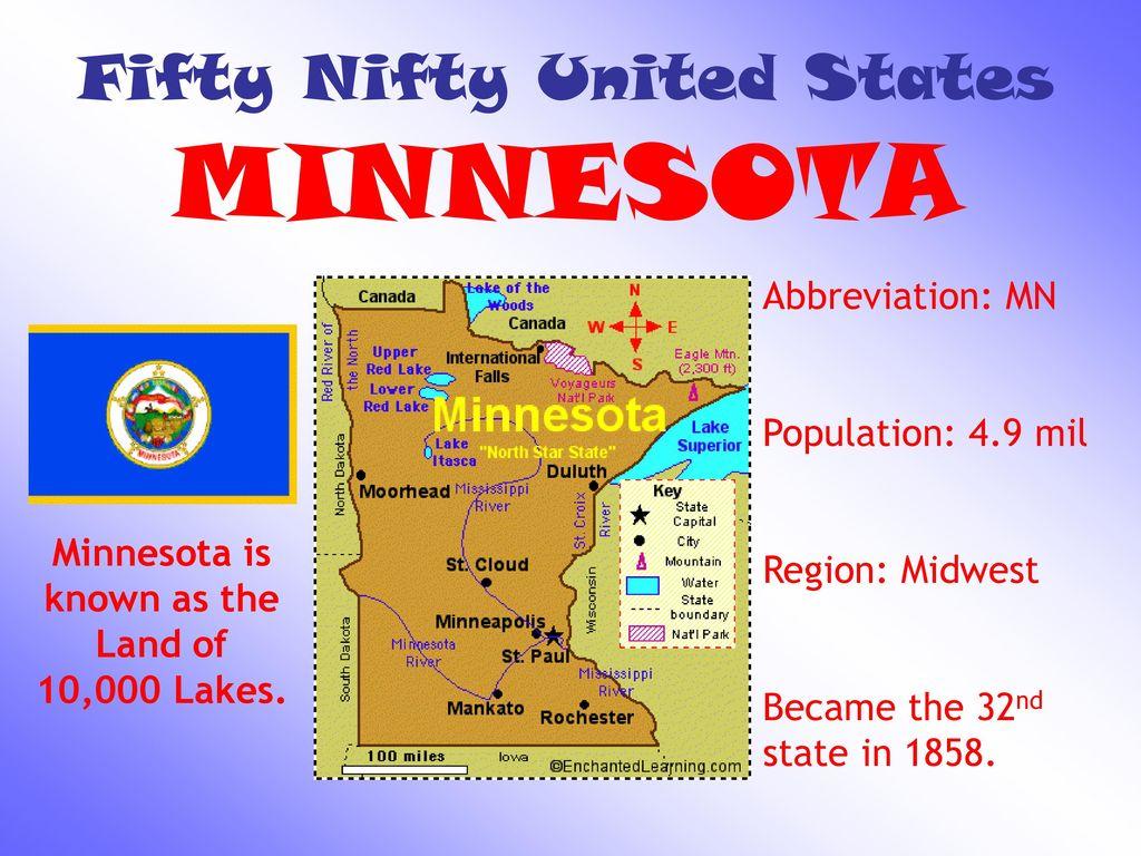 27 Fifty Nifty United States MINNESOTA Abbreviation